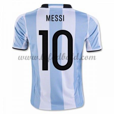 Billige Fodboldtrøjer Argentina 2016 Landsholdstrøjer Lionel Messi 10 Kortærmet Hjemmebanetrøje