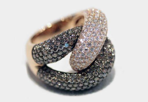 #Anello groumette oro rosa 18Kt. Diamanti e #diamanti brown.