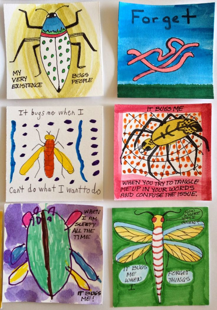 What Bugs Me - a collaborative project from Cynthia Emerlye's art therapy group.  See more examples on the source blog.