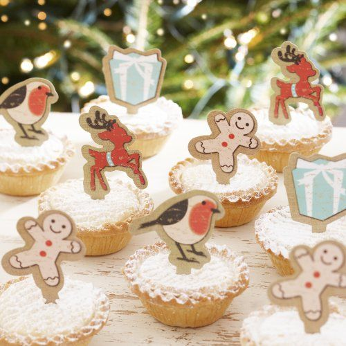 Ginger Ray Vintage Noel Mince PieCupcake Sticks Christmas Decorations Mixed *** Find out more about the great product at the image link.