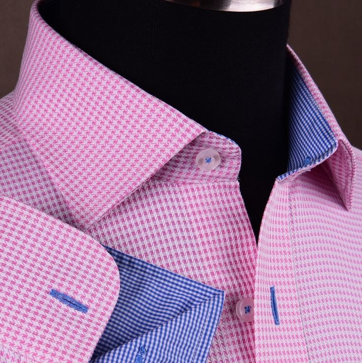 Pink Houndstooth Dress Shirt Retro B2B Plaids & Checks Mens Semi Formal Business | eBay