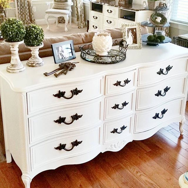 White vintage dresser with black handles