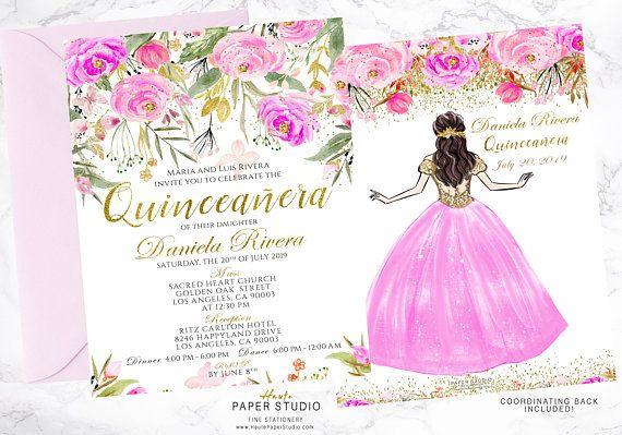 Quinceanera Spanish Personalized Floral Milestone Invitation Sweet 16 Princess Invitaciones de quince años 18th 21st Birthday Invite BDQ004