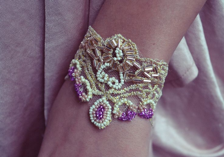 DIY beaded lace bracelet