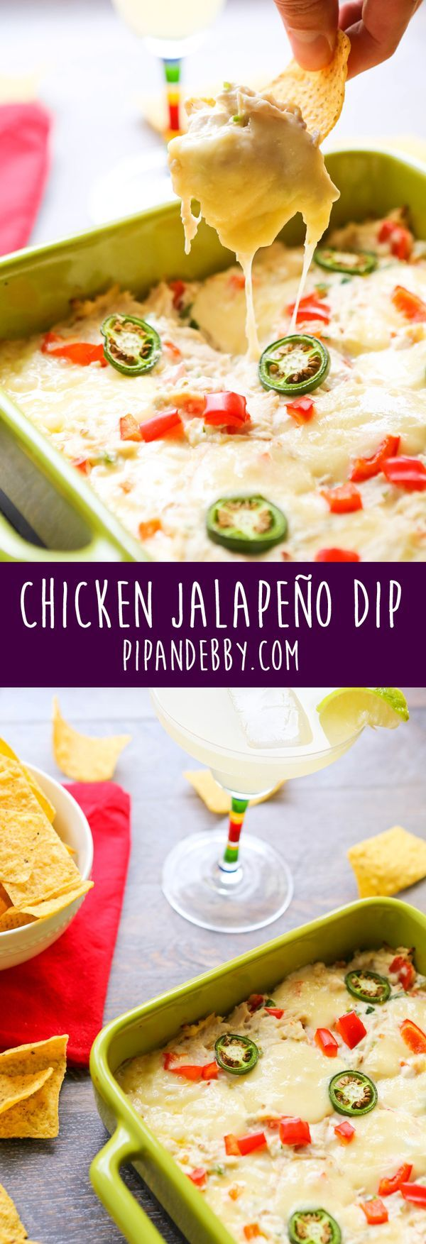 Chicken Jalapeño Dip   Spice, goo and meat in a dish! This is one of my all-time favorite appetizers for parties.