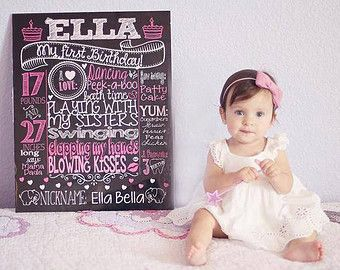 Winter ONEderland Chalkboard First Birthday by CustomChalkPosters