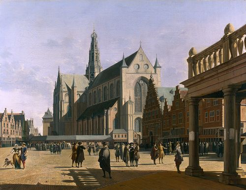 """The Market Place and the Grote Kerk at Haarlem""   Gerrit Berckheyde : 1647"