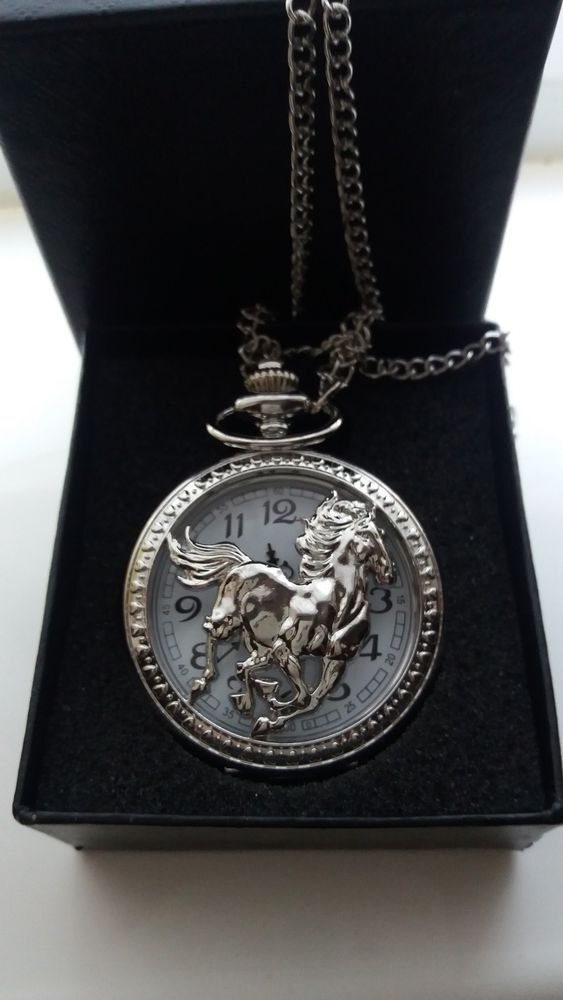 Wild Stallion Silver Plated Quartz Pocket Watch with Chain + Gift Box