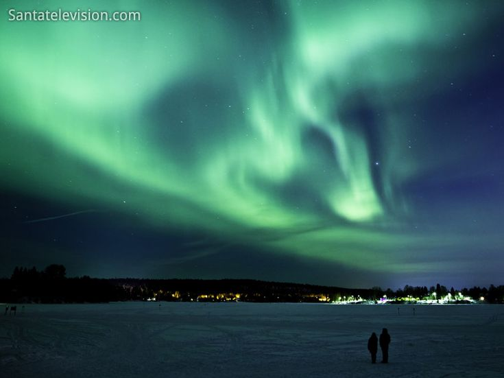 Northern lights in Rovaniemi in Lapland, Finland.