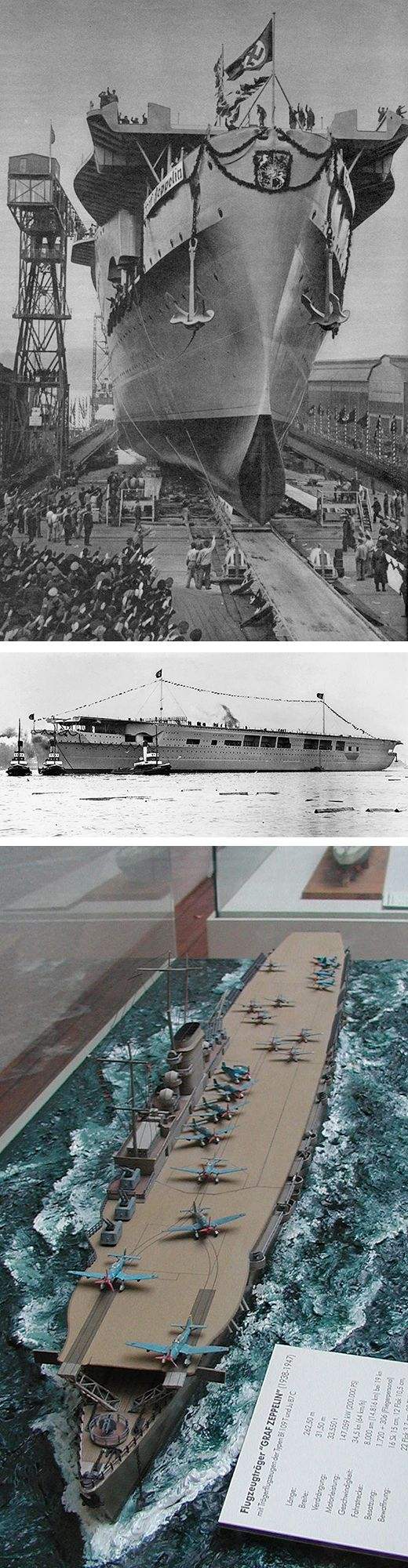 El 08 de diciembre 38: El único portaaviones de Alemania, el ZEPELÍN DE GRAF, es lanzado, aunque lejos de ser completo. Debido al cambio de prioridades de construcción hechas necesario por la guerra que viene, ella nunca será completada, ni hacer operacional, y permanecerá en el Báltico para la duración de la guerra. Más