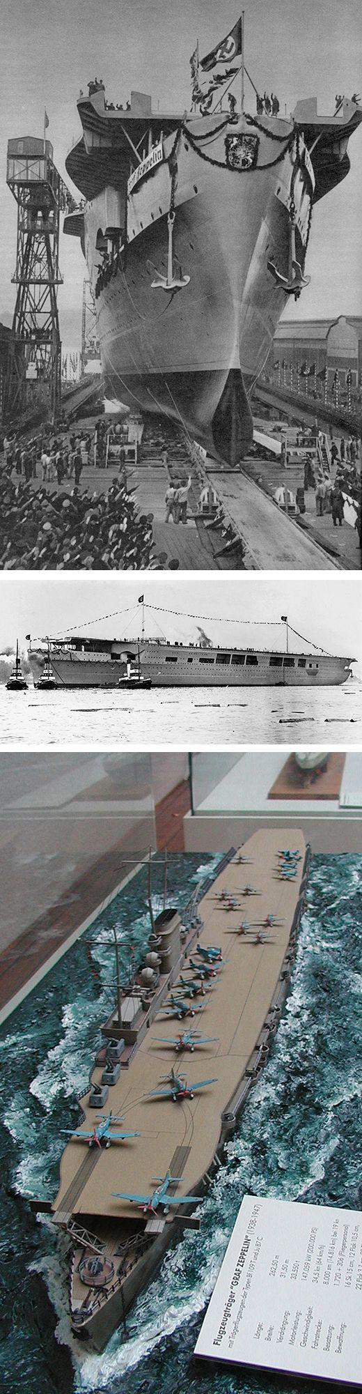 KMS Graf Zeppelin - portaerei classe Graf Zeppelin - Varata8 dicembre 1938 Completata: mai - Dislocamentostandard: 24.114 t a pieno carico: 27.750 Lunghezza257,20 m Larghezza27,00 m Pescaggio7,29 m Propulsione4 turbine da 36.750 kW = 50.000 CV Velocità33,8 nodi  (62 km/h) Equipaggio1.720 marinai + 306 del personale di volo. - Affondata nel mar Baltico il 18 giugno 1947