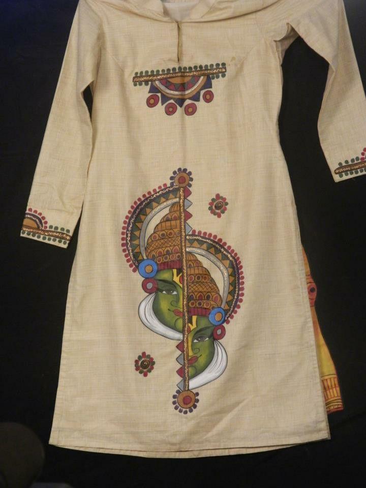 Pin By Neha Singh On Kurtas Dress Painting Saree
