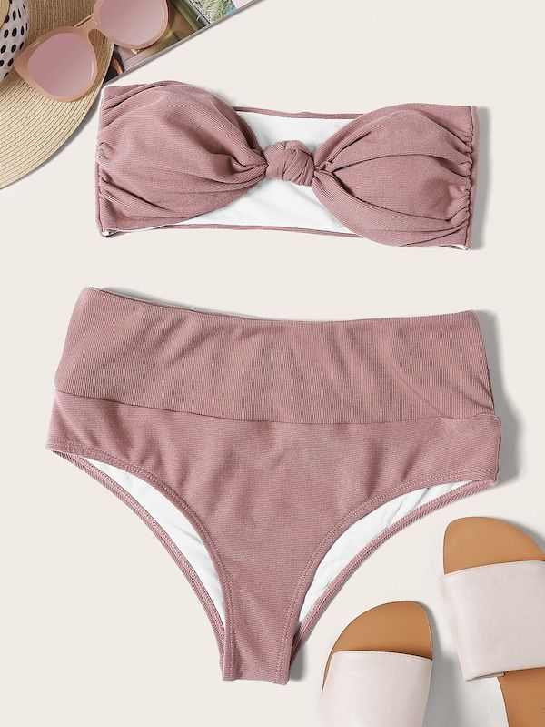 56f7a1a187 Textured Bandeau With High Waist Bikini Set | SHEIN | II TRENDY ON ...