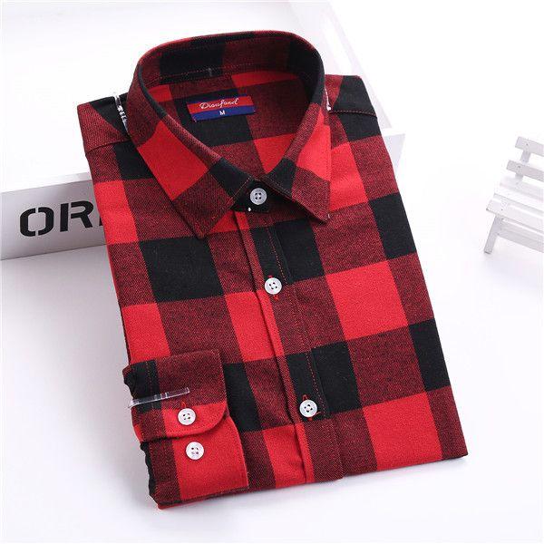 Dioufond Flannel Plaid Shirt Women Shirts Blouses Long Sleeve Plaid Blouse Causal Turn-down Collar Clothes Women Tops Fashion