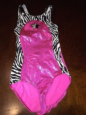 EUC Girls Axis Pink Zebra Tank Sleeveless Leotard Size M