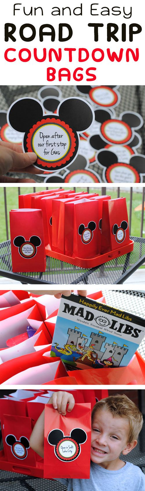 What kid wouldn't love these before a vacation?! Disney Road Trip Surprise Bags
