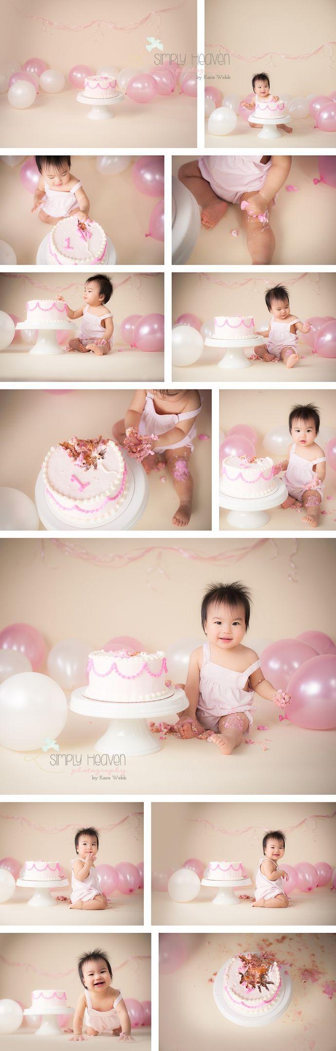 Pink, white, and cream cake smash. Balloons and ribbon!  Simply Heaven Photography | Pinehurst Baby Photographer