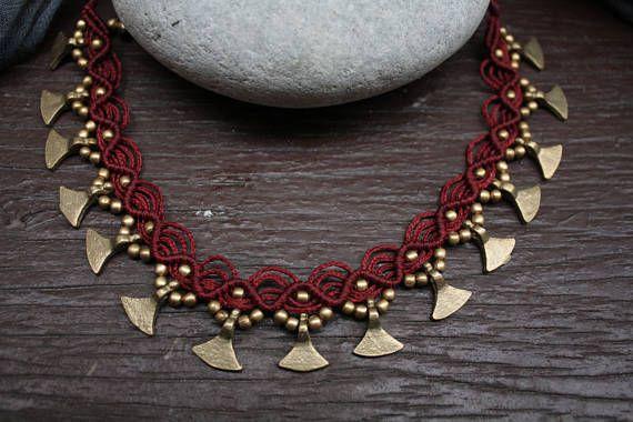 Collana tribale collana indiana macrame collana con perle di