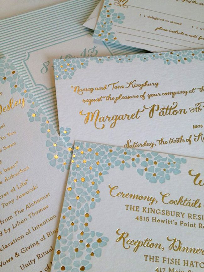 what write on wedding invitation%0A designed by amy graham stigler   smock paper   letterpress   gold foil   wedding  invitation   Monograham Paper and Gifts