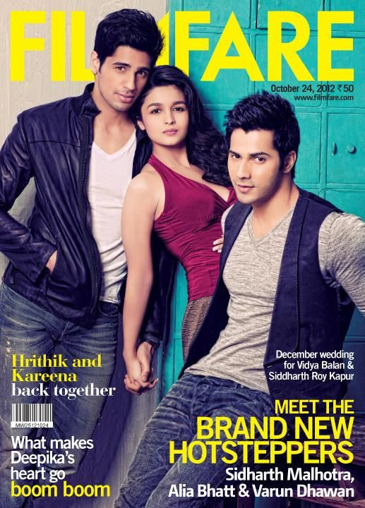 Alia Bhatt, Varun Dhawan  Siddharth Malhotra on the cover of Filmfare