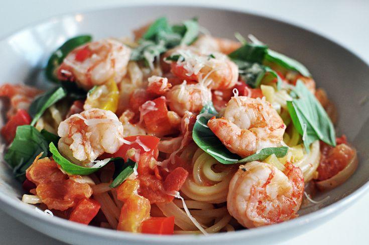 Spaghetti med thaimarinerede rejer!