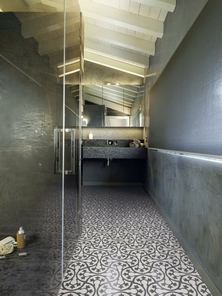Incredible bathroom topped off with a beautiful patterned terrazzo floor. New range of terrazzo coming to Signorino Tile Gallery in early 2014.