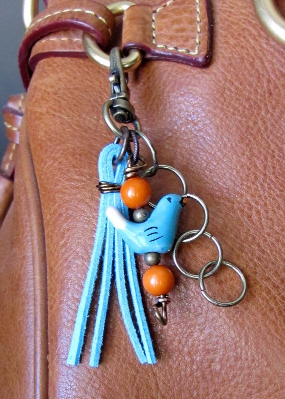MINI Boho Purse Charm, Charm Tassel, Zipper Pull, Key Chain - Ceramic Bird, Turquoise, Orange, Brass, Glass Beads Wire Wrapped