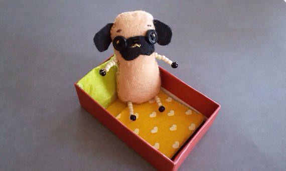 Miniature Felt Pug Dog Plush Tiny Toy in box  Handmade Funny