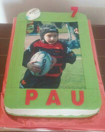Tarta con la foto comestible de Pau para su cumpleaños!!