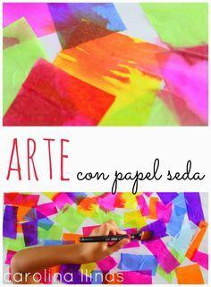 Nuestro Mundo Creativo: Arte con papel seda @carollinas #actividadesniños                                                                                                                                                      Más