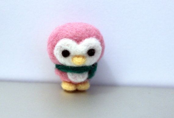 Needle Felted Mini Penguin Christmas Ornament by CafeDeYume