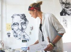 Artist Anna Schuleit Haber shown at work in her studio.JOHN SOLEM PHOTOSentinel and Enterprise staff photos can be ordered by visiting our SmugMug site.