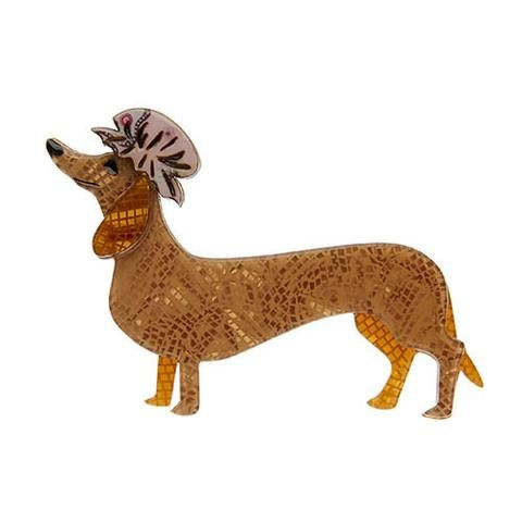 """Erstwilder Limited Edition The Dainty Dachshund Brooch. """"Dressing down because you don't always have to make an impression. And after all comfort is also important. """""""