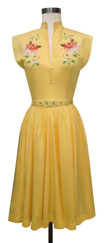 The new Trashy Diva Maria Dress in Yellow features large embroidered Asian Chrysanthemums and pockets!!!
