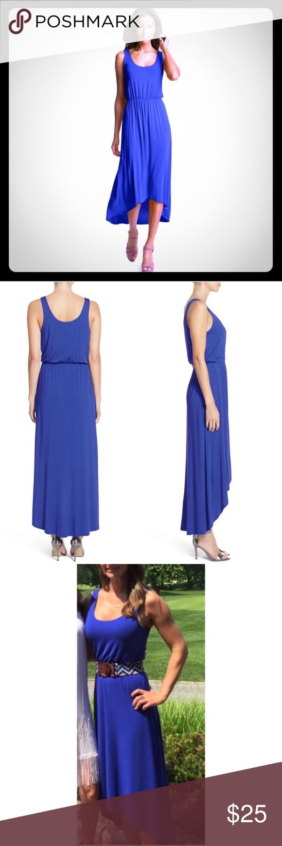 Nordstrom - Felicity & Coco High/Low Dress A comfortable elasticized waistband and on-trend high/low hemline define the casual-chic silhouette of a soft jersey tank dress. Slips on over head. Elasticized waist. Lightweight, stretchy jersey. Partially lined. 95% viscose rayon, 5% spandex. Color: Cobalt Blue  Paid $68 for this dress and only wore it twice! Nordstrom Dresses Maxi