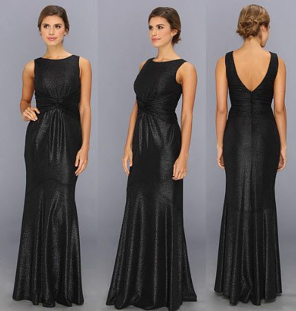 Rochie neagra lunga pe corp by Jessica Simpson Waist Knot Gown