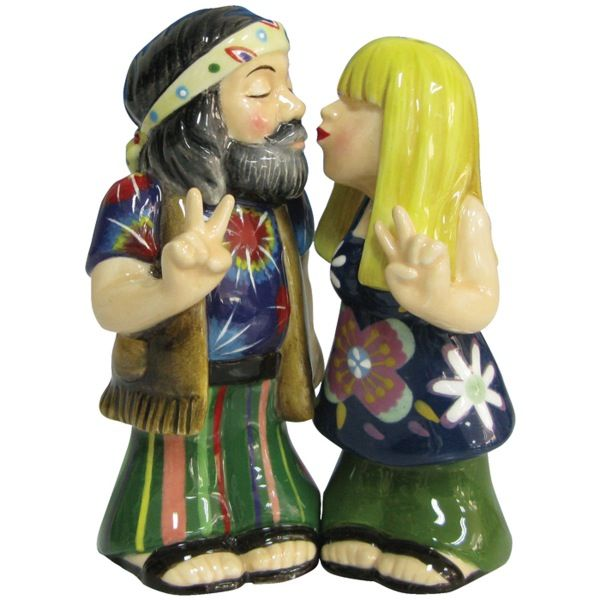 Hippie Couple Kissing Peace Sign Salt and Pepper Shakers