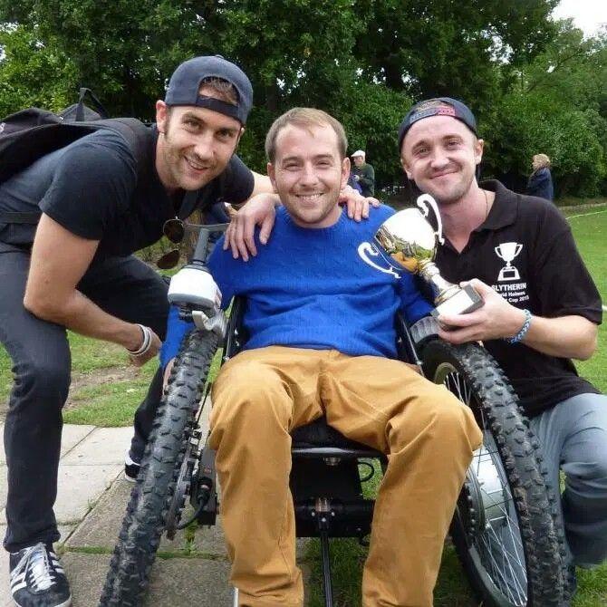 Tom Felton And Matthew Lewis With David Holmes The Stunt Double Of Daniel Radcliffe Matthew Lewis Tom Felton Daniel Radcliffe