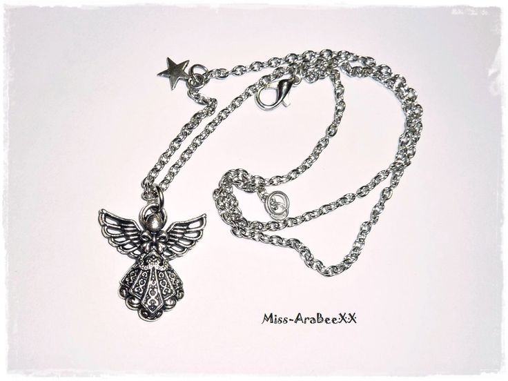 Schutzengel Kette Altsilber Halskette mit Engel Anhänger Glücksbringer Talisman Engelkette von MissAraBeeXX auf Etsy