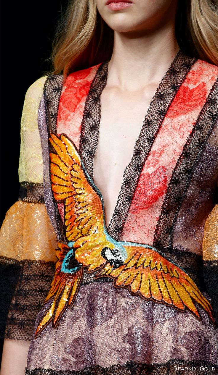 gucci spring 2016, designer clothing, designer dress, gucci dress, bird applique
