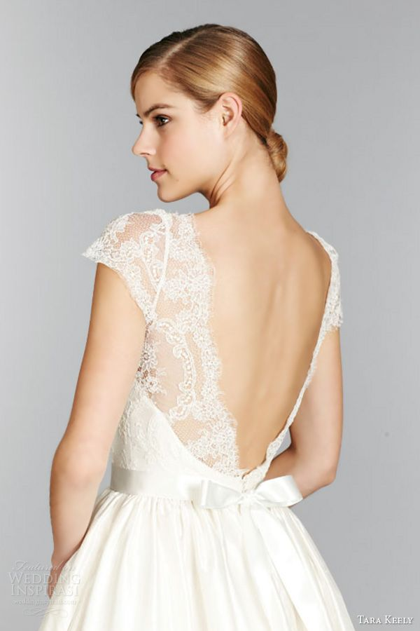 tara keely fall 2013 short cap sleeve ball gown wedding dress style 2357 lace illusion bateau neck v back close up