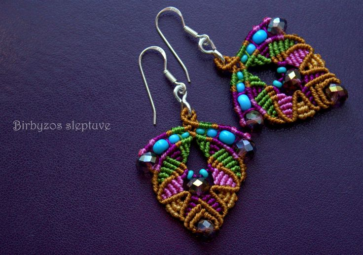 #minimal #micro #macrame #earrings with #swarovski #crystals and #czech #glass #seed #beads <3