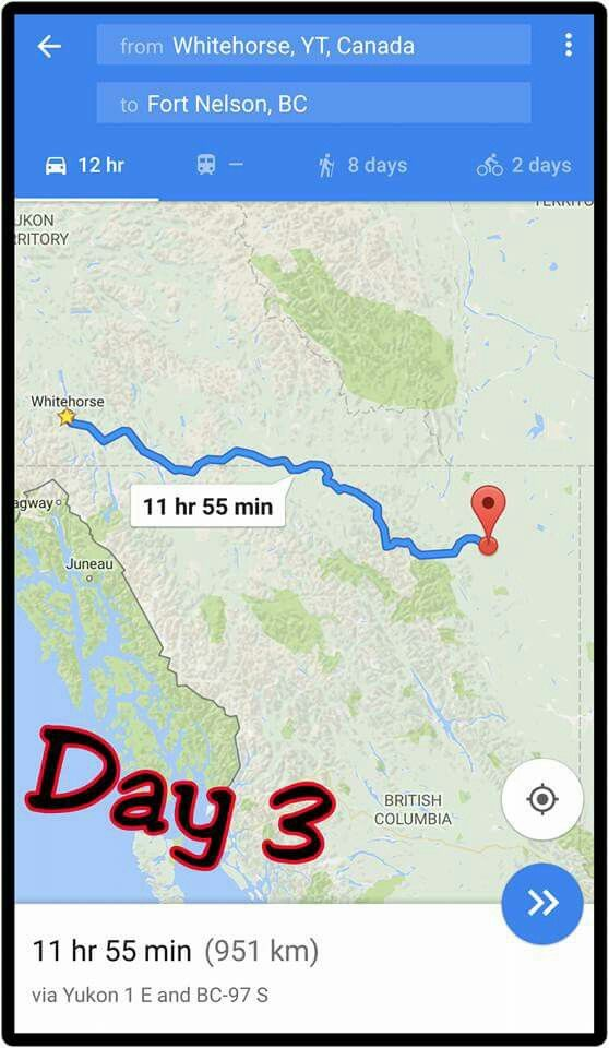 Whitehouse, YT, Canada to Fort Nelson, BC