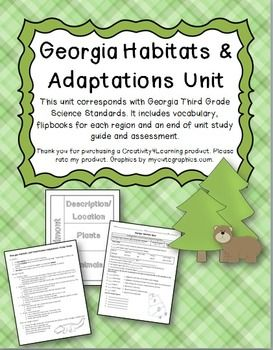 "This unit corresponds with Georgia Third Grade Science Standards. It includes: -a vocabulary flipbook -a flipbook for each region -a ""habitat change"" flipbook -an end of unit study guide  -an end of unit assessment -Teacher key for assessment This unit covers ALL 3 standards for 3rd quarter GA science."