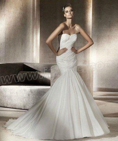 Chiffon Mermaid Strapless Sweetheart Neckline Gathered Bodice Wedding Dress