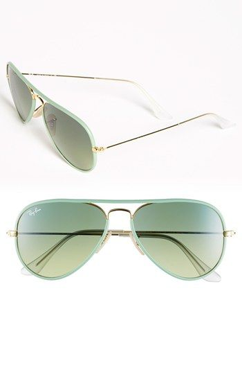 mint green Ray-Ban aviators - love all the new colors for spring - twist on a classic