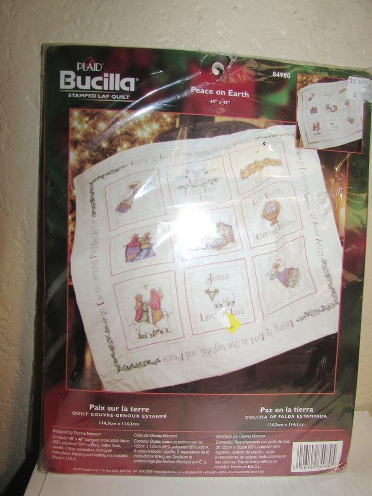 Bucilla St&ed Cross Stitch Lap Quilt Peace on Earth Christmas ... : stamped cross stitch lap quilts - Adamdwight.com