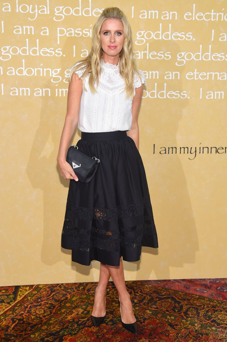 Pin for Later: These Stars Have Been Sitting Pretty in NYFW's Front Row Nicky Hilton Nicky Hilton stuck to her signature modest look with a lacy high-neck top and A-line black skirt.
