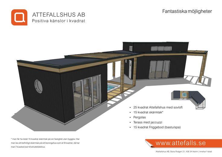 Attefallshus, fantastiska möjligheter. Här visas ett attefallshus 25 kvadrat med sovloft tillsammans med pergolas och friggebod.