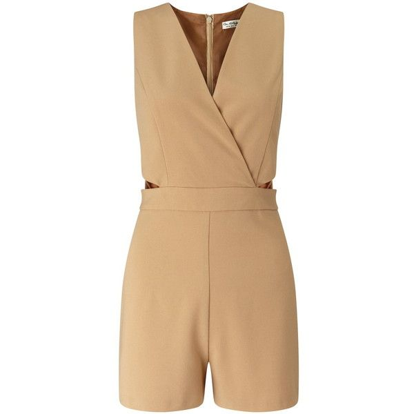 Miss Selfridge Petites Camel Cut Out Playsuit ($44) ❤ liked on Polyvore featuring jumpsuits, rompers, camel, petite, playsuit romper, cut out romper, miss selfridge, wrap romper and cutout romper
